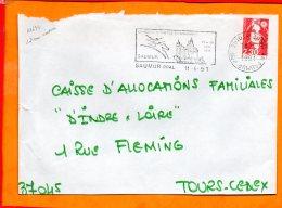MAINE ET LOIRE, Saumur, Flamme SCOTEM N° 11426, Concours De Voltige International, 28-30 Juin 1991, Dateur Inversé - Marcophilie (Lettres)