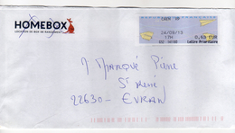 Enveloppe Avec Vignette D' Affranchissement Lettre Prioritaire Oblitération CAEN RP 24/09/2013 - 2000 Type «Avions En Papier»