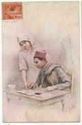 Guerre 1914 Carte Maximum Croix Rouge Semeuse Infirmiere Tirailleur Senegalais Aprenant à Lire Par Jules Girardet - Andere