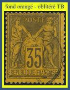 N° 93 GROUPE ALLÉGORIQUE SAGE TYPE II 1884 - VIOLET-NOIR SUR ORANGE - OBLITÉRÉ TB