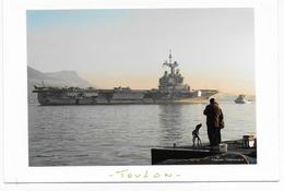 """Cpsm-cpm Bon Etat , Carte Double , 10.5x15.5cm , Toulon , Le  """"charles De Gaulle""""   Les Sauveteurs En Mer,  Rare - Warships"""