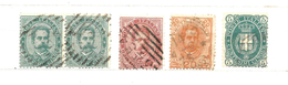1879 - 1891 ITALIA REGNO - 5 Valori Usati Stemma E Umberto I
