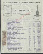 FACTURE ILLUSTRÉE DE 1929 G. DERUE PLOMBERIE COUVERTURES ARDOISES POUR CLOCHERS ECT  À CLERMONT FERRAND : - Petits Métiers