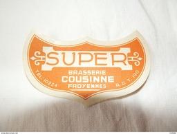Ancienne étiquette à Bière SUPER Brasserie COUSINNE Froyennes . - Etiquettes