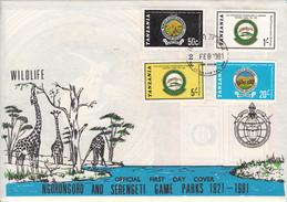 1981 Tanzania Ngorongoro Game Park Giraffe Rhino   First Day Cover - Tanzanie (1964-...)