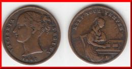 **** GRANDE-BRETAGNE - GREAT-BRITAIN - TOKEN - KEEP YOUR TEMPER 1847 - VICTORIA **** EN ACHAT IMMEDIAT !!! - Professionnels/De Société