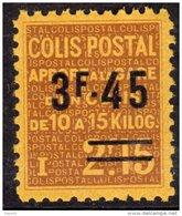 France Colis Postaux N° 148 XX Apport à La Gare : 3 F. 45  Sur 2 F. 15 Brun Sur Jaune, Sans Charnière, TB