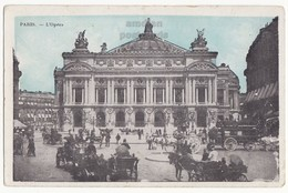 L'Opera - Paris France - Antique 1910s Postcard - Horse Carriages Street Scene - France