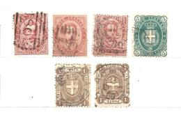 1879 - 1891 ITALIA REGNO - 6 Valori Usati Stemma E Umberto I