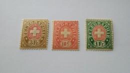 3 FRANCOBOLLI  SVIZZERA SUISSE 1868-81 TELEGRAFICI CROCE IN UN OVALE NEWS - Telegrafo