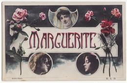 MARGUERITE - MARGARET Name C1910s Retro Vintage Tinted French Greetings Postcard - Frauen