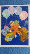 CPSM DESSIN D ENFANT COSMONAUTE ANNEE 1958 BAGAGES BALLONS - Dessins D'enfants
