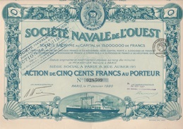 SOCIETE NAVALE DE L'OUEST -ACTION ILLUSTREE DE 500 FRANCS -ANNEE 1920 - Navigation