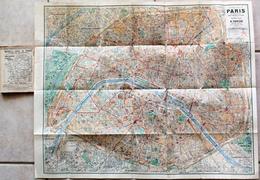 Plan De Paris TARIDE 1923. Métro, Autobus, Tramways, Bateaux. Indicateur Des Rues De Paris. - Cartes