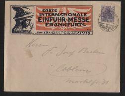"""Dt. Reich - Privatganzsache/Umschlag Mit 20 Pf Germania - """"ERSTE INTERNATIONALE EINFUHR-MESSE FRANKFURT A/M"""", 14.10.1919"""