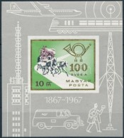 ** 1967 100 éves A Magyar Posta Vágott Blokk (5.000) - Zonder Classificatie