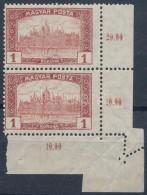 ** 1920 Magyar Posta 1K Pár Látványos Elfogazással - Zonder Classificatie