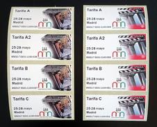 "NEW!!! RARE!!! SPAIN ESPAÑA ESPAGNE SPANIEN 2017 Postal Labels ATM Set Of 4 Rates ""49 Feria Nacional Del Sello Madrid""**"