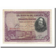 Espagne, 50 Pesetas, 1928, KM:75b, 1928-08-15, TTB+ - 50 Pesetas