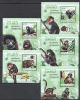 WW25 2009 UNION DES COMORES FAUNA ANIMALS LES LEMURS MANGOUSTES 5LUX BL MNH