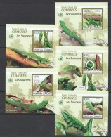 WW57 2009 UNION DES COMORES FAUNA REPTILES LES SAURIENS 5LUX BL MNH