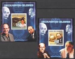 WW66 2009 UNION DES COMORES SCIENCE DECOUVERTES CELEBRES 2LUX BL MNH