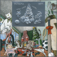 """Thematik: Weihnachten / Christmas: 1993, Guyana. Lot Of 100 SILVER Christmas Blocks Containing The $600 Stamp """"Christmas"""