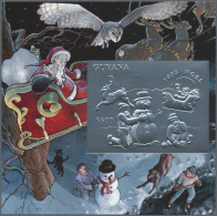 "Thematik: Weihnachten / Christmas: 1993, Guyana. Lot Of 100 SILVER Christmas Blocks Containing The $600 Stamp ""Children"