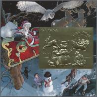 "Thematik: Weihnachten / Christmas: 1993, Guyana. Lot Of 100 GOLD Christmas Blocks Containing The $600 Stamp ""Children Bu"