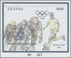 Thematik: Sport-Radsport / Sport-cycling: 1993, Guyana. Lot Of 100 SILVER Blocks $600 Olympic Games Atlanta 1996 Overpri