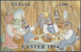 "Thematik: Comics / Comics: 1994, Guyana. Lot Of 100 SILVER Blocks ""Easter 1994"" Showing EASTER BUNNYs WORKSHOP. Mint, NH"