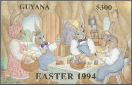 "Thematik: Comics / Comics: 1994, Guyana. Lot Of 100 GOLD Blocks ""Easter 1994"" Showing EASTER BUNNYs WORKSHOP. Mint, NH."