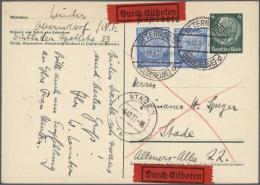 Deutsches Reich - Ganzsachen: 1920/1941, über 800 Gebrauchte Ganzsachenkarten Mit Interessanten Stempeln Inkl. SST,