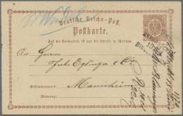 Deutsches Reich - Ganzsachen: 1873/1875, Partie Von Ca. 200 Gebrauchten Brustschild-Ganzsachenkarten Incl. Antwortkarten