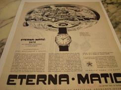 ANCIENNE PUBLICITE MONTRE ETERNA.MATIC 1971 - Autres