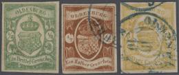 """Oldenburg - Marken Und Briefe: 1861, Lot Von Drei Marken: â…"""" Gr. Grün Ungebraucht, ½ Gr. Braun Und 3 Gr. Ge"""