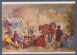 Gemäldekarte - Neumarkt (Südtirol) - Marktszene Aus Dem Mittelalterlichen Neumarkt Mit Blick Auf Die Burg Kaldiff (2) - Non Classificati
