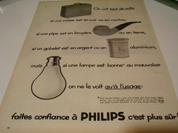 ANCIENNE PUBLICITE LAMPE PHILIPS 1959 - Advertising
