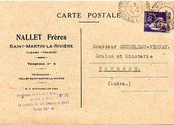 H623  Cachet Tireté Saint Martin La Rivière Vienne 1938  Type Paix 55c Violet - 1921-1960: Modern Period