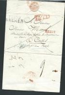"""LAC D'ARMEE  Marque P129P  Bremen ( Port Payé ) +  Marque Rouge """"HESSE"""" + P.P.P.P. EN ROUGE   -  Malc80 - Marcophilie (Lettres)"""