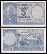 Norway 5 Kroner 1955 XF+ AUNC - Norvège