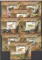 WW109 2011 BURUNDI REPTILES DINOSAURS LES PREHISTORIQUES CROCODILES 8LUX BL MNH