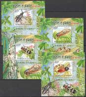 WW128 2012 BURUNDI PROTECTION DE LA NATURE INSECTES PLANTES SUR ROUGE 4BL MNH