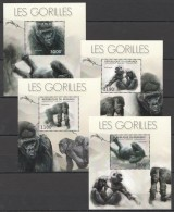 WW153 2012 BURUNDI FAUNA WILD ANIMALS MONKEYS LES GORILLES 4LUX BL MNH
