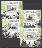 WW99 BURUNDI FAUNA WILD ANIMALS LES PANDAS 4LUX BL MNH