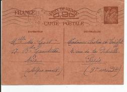 ENTIER POSTAL 0,90 IRIS Au Dos Carte Familiale A Remplir 1940