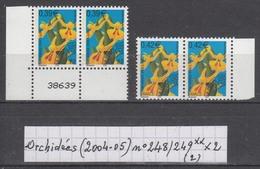 Préoblitérés Orchidées (2004-05) Y/T Paires N° 248/249 Neufs ** à 15% De La Cote (lot 2)