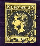 ROMANIA 1866 Carol I 2 Par. Black On Yellow Thin Paper Used.  Michel14y - 1858-1880 Moldavia & Principality