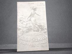 FRANCE - Bulletin Mensuel De La Maison Champion En 1935 - L 7985 - Cataloghi Di Case D'aste
