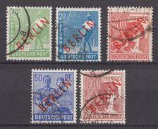 Berlin 1949 / MiNr. 24, 26, 28, 30, 31 O Used / Freimarke Mit Rotem Aufdruck